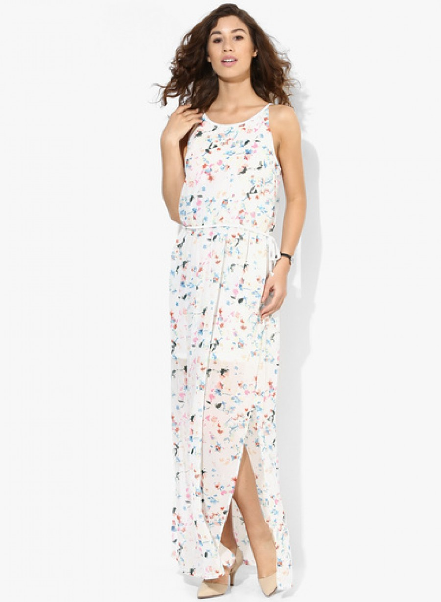 Buy Only White Coloured Printed Maxi Dress Online