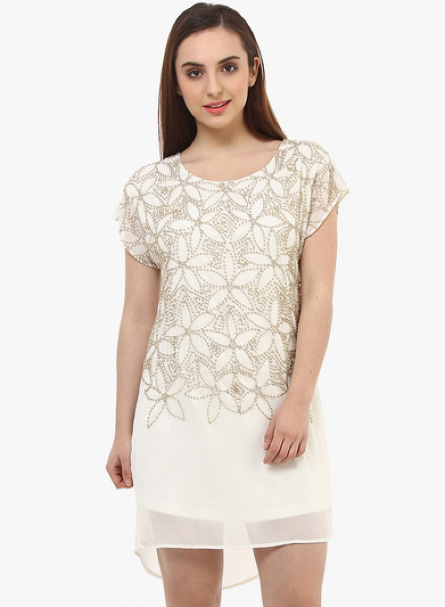 Buy Oxolloxo Off White Coloured Embellished Shift Dress Online