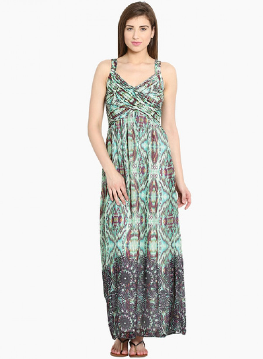 Buy Ladybug Green Coloured Printed Maxi Dress Online