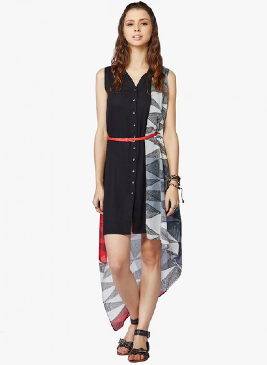 Buy Global Desi Black Coloured Printed Polyester Asymmetric Dress With Belt Online