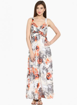 Buy Ladybug Beige Coloured Printed Maxi Dress Online