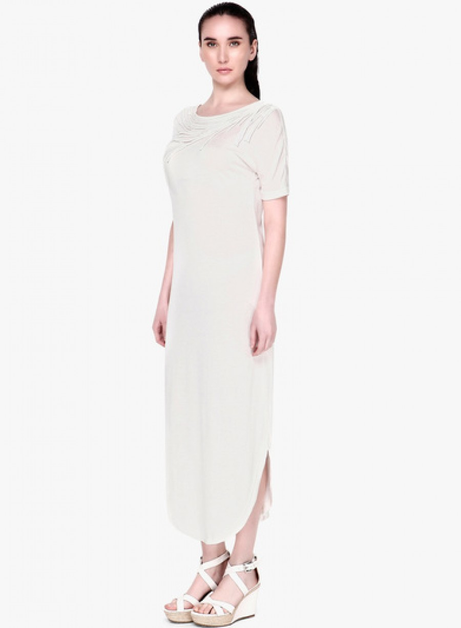 Buy GENES   Lecoanet Hemant Off White Solid Maxi Dress Online