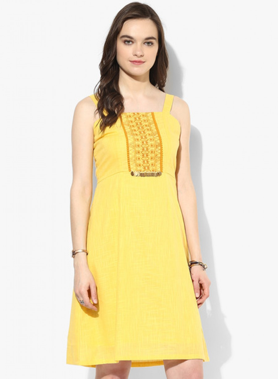 Buy Global Desi Yellow Coloured Embroidered Cotton Shift Dress Online
