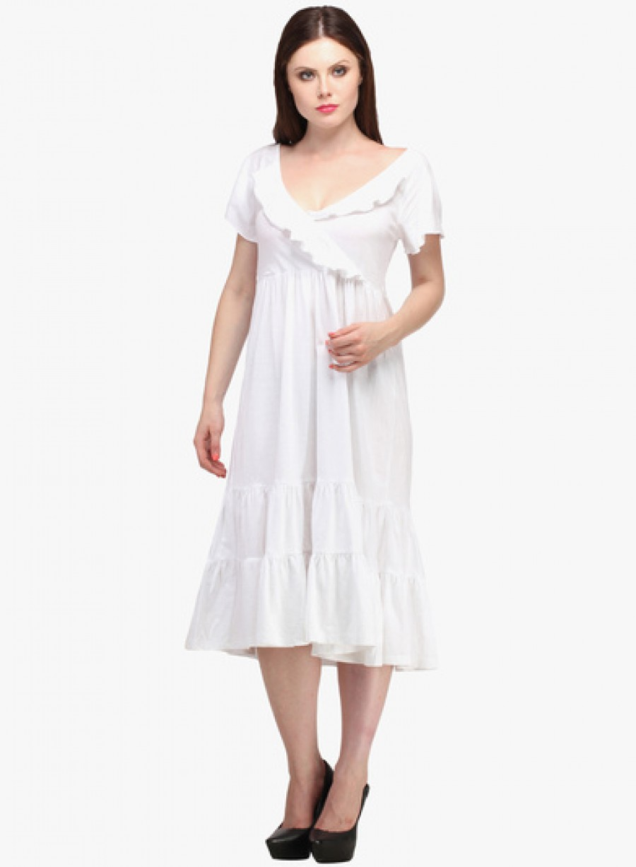 Buy Ladybug White Colored Solid Shift Dress Online
