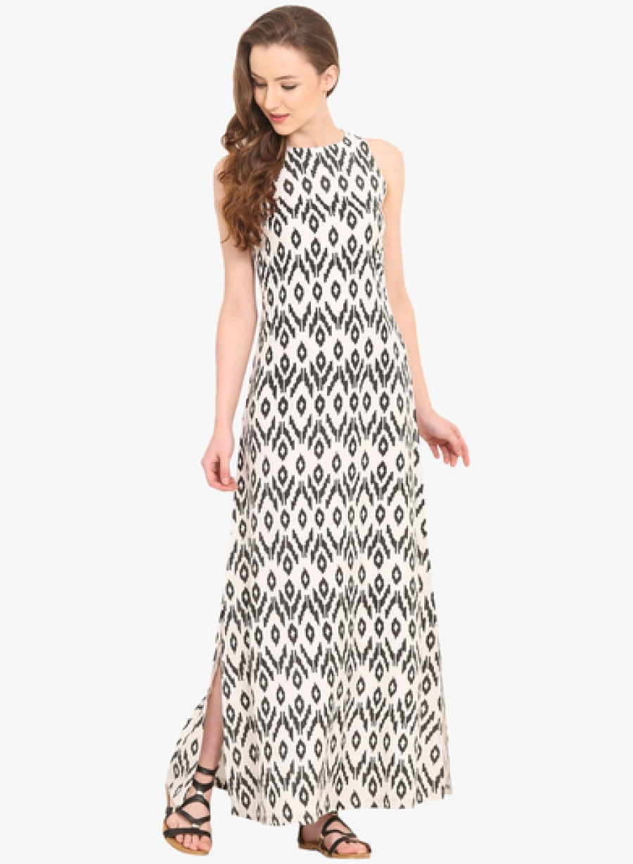 Buy Saiesta White Coloured Printed Maxi Dress Online