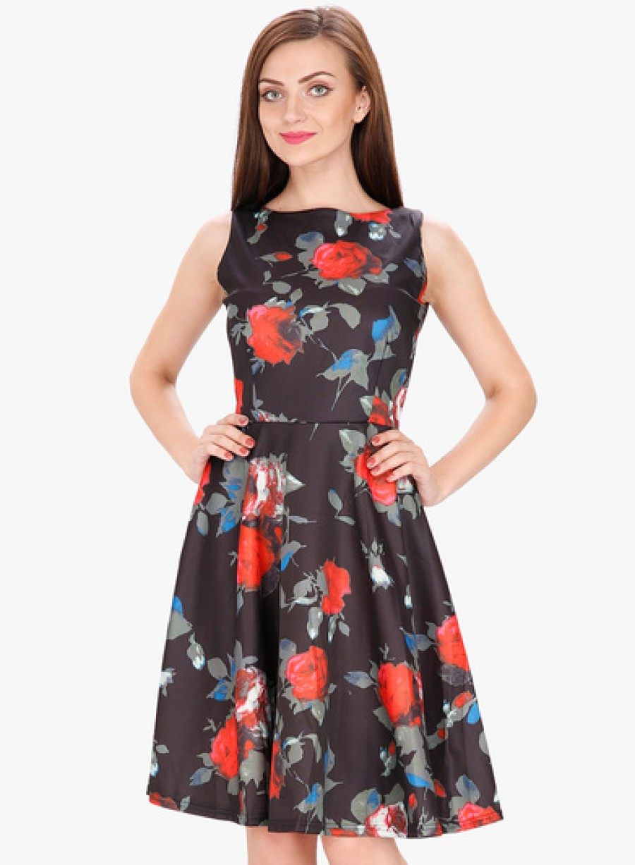 Buy SVT ADA Collection Black Coloured Printed Skater Dress Online