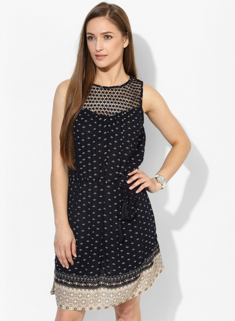 Buy Only Navy Blue Coloured Printed Shift Dress Online