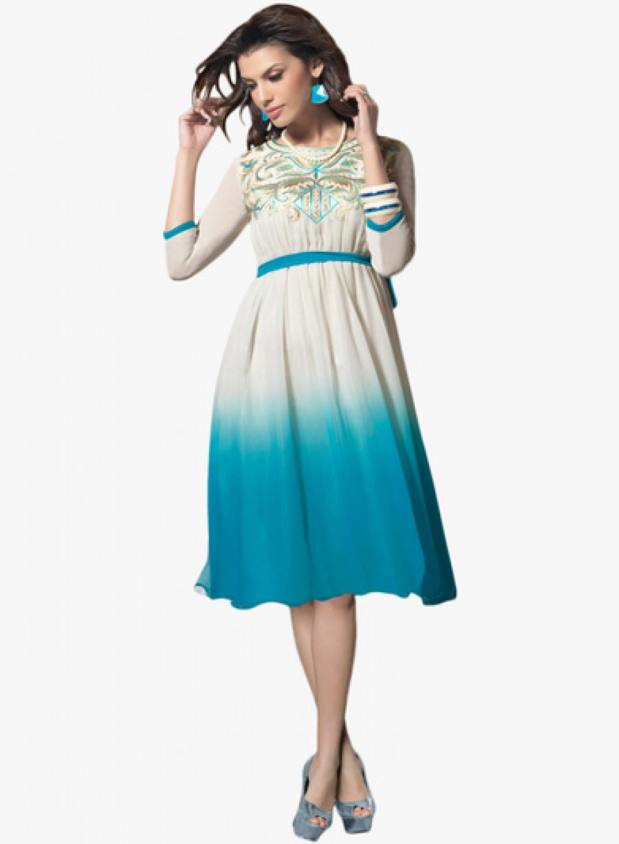Buy Viva N Diva Off White Coloured Embroidered Skater Dress Online