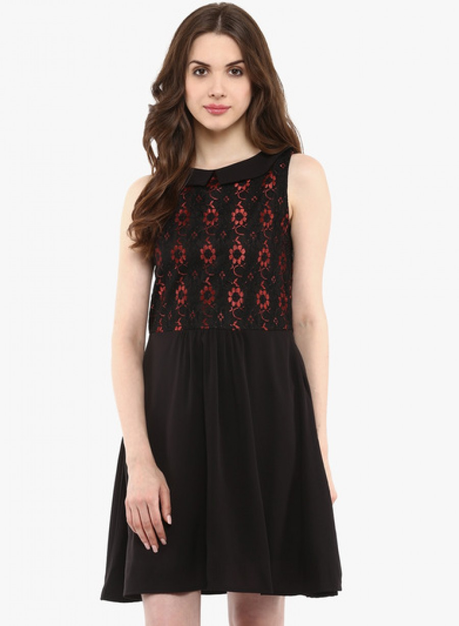 Buy La Zoire Black Coloured Solid Skater Dress Online