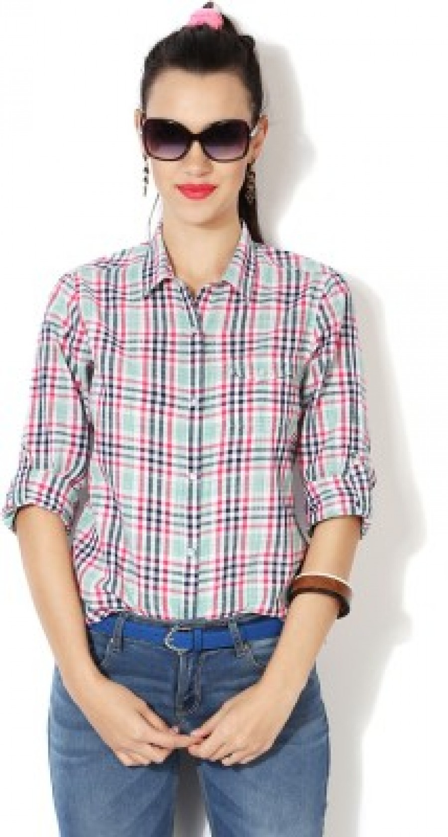 Buy People Women s Checkered Casual Multicolor Shirt Online