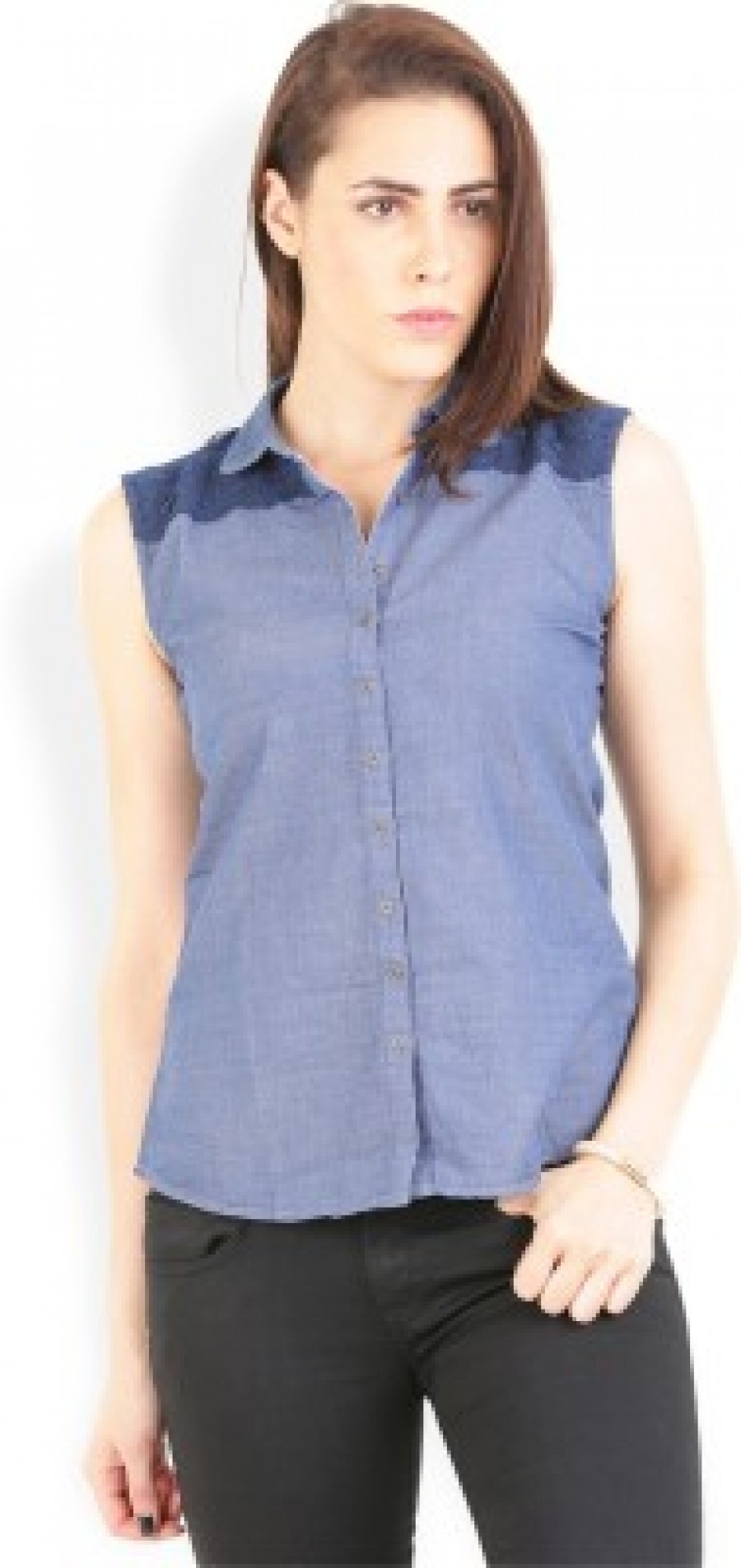 Buy Wrangler Women s Solid Casual  Party Blue Shirt Online