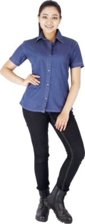 Buy FX Jeans Co Women s Solid Casual  Party Denim Blue Shirt Online