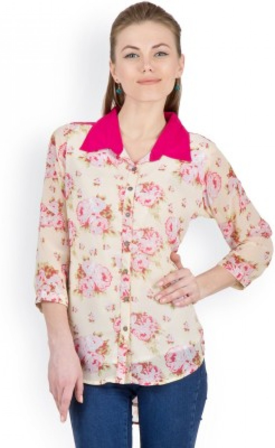 Buy Zoae Women s Printed Casual  Party Beige Shirt Online