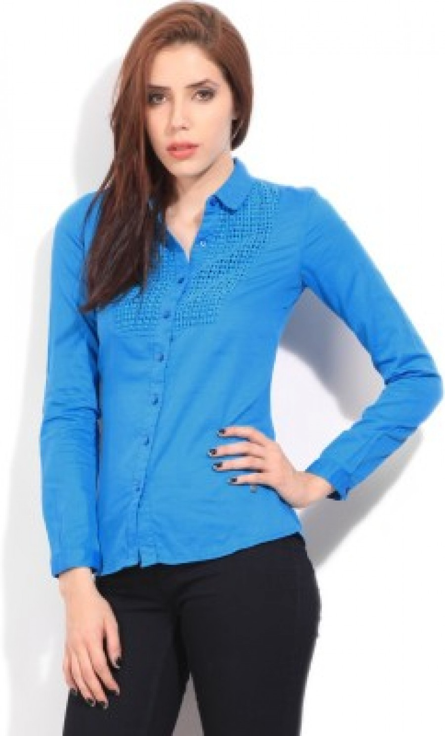 Buy Wrangler Womens Solid Casual Blue Shirt Online