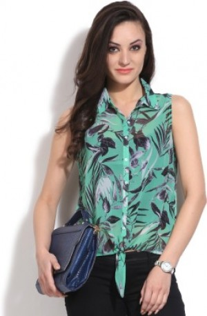 Buy United Colors of Benetton Womens Printed Casual Green Shirt Online
