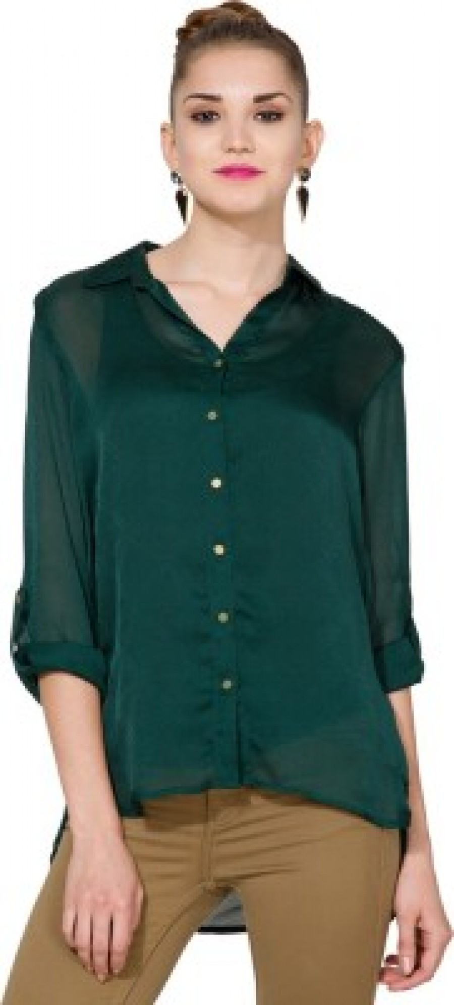 Buy Tokyo Talkies Womens Solid Casual Green Shirt Online