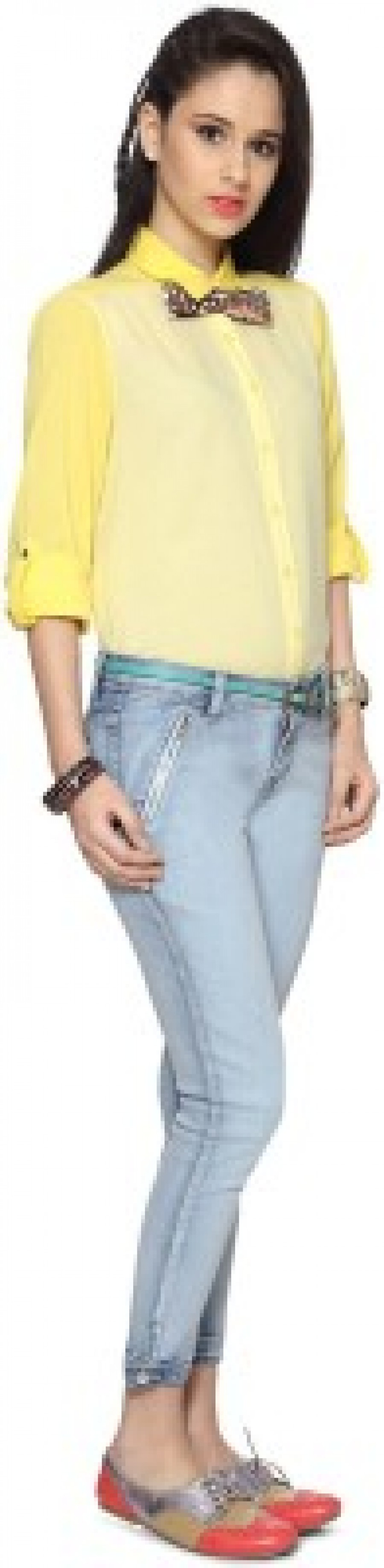 Buy People Womens Solid Casual Yellow Shirt Online