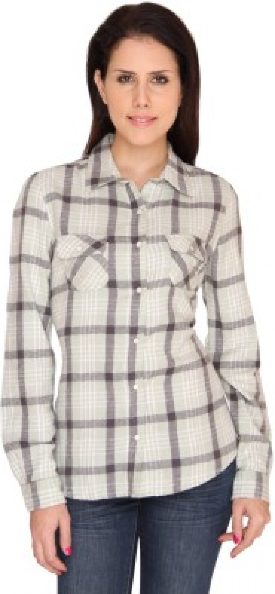 Buy Bedazzle Womens Checkered Casual Green Shirt Online