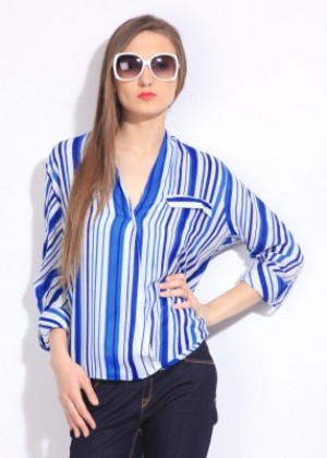 Buy Remanika Womens Striped Casual Blue  White Shirt Online