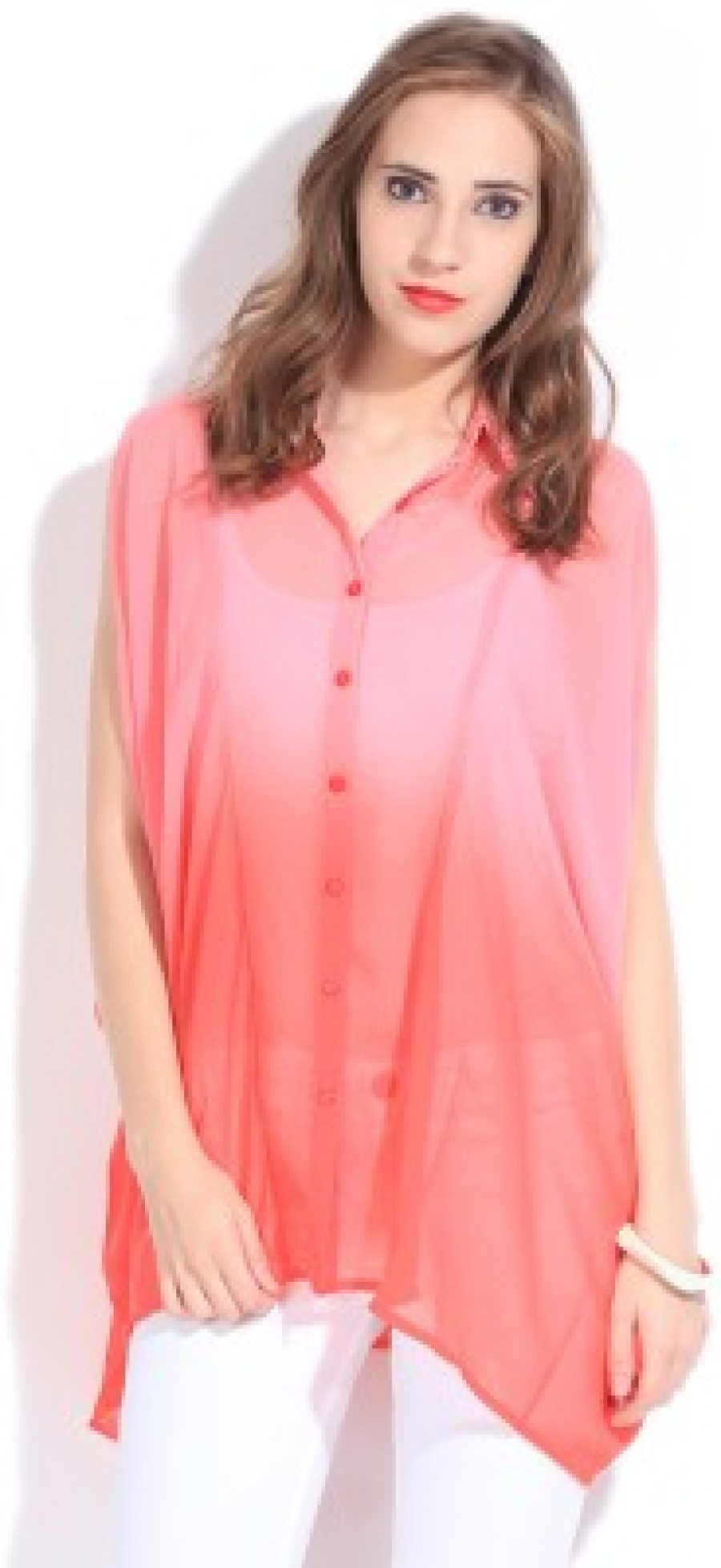 Buy Remanika Womens Solid Casual Orange  Pink Shirt Online