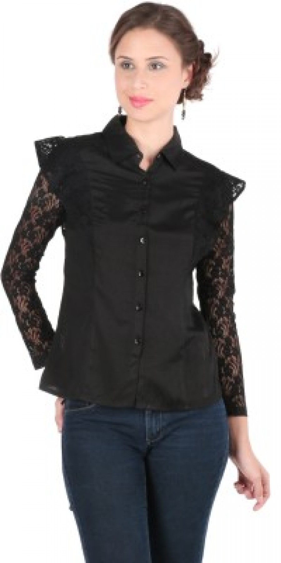 Buy Remanika Womens Solid Casual Black Shirt Online