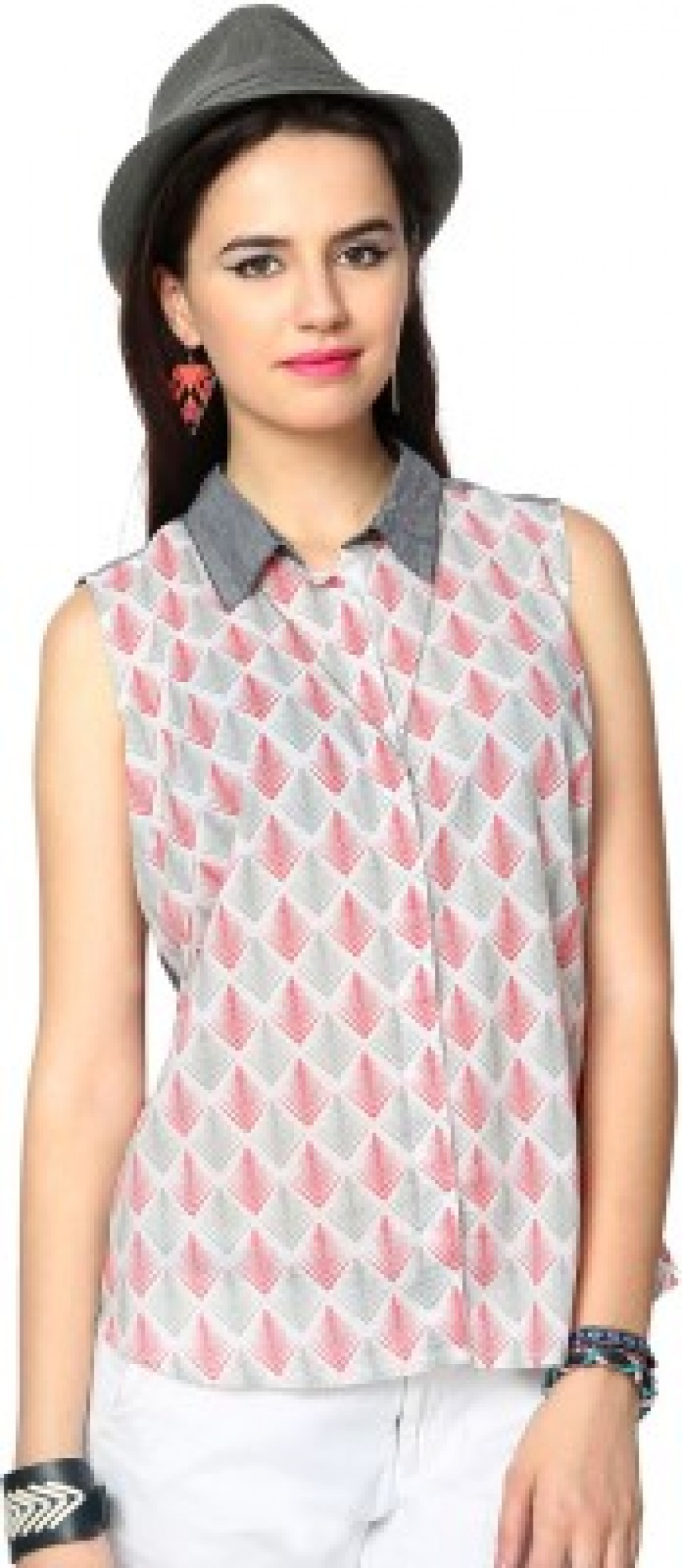Buy People Womens Printed Casual Grey Shirt Online