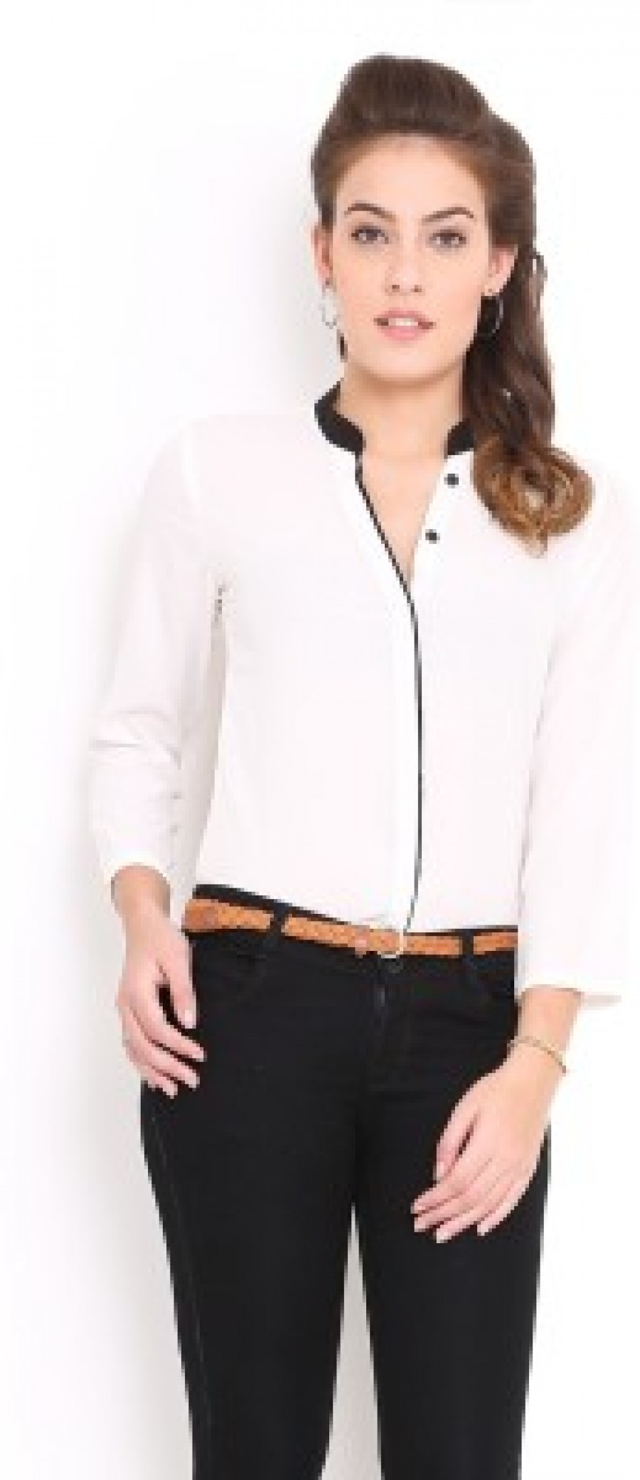 Buy Trend Arrest Womens Solid Casual White Shirt Online