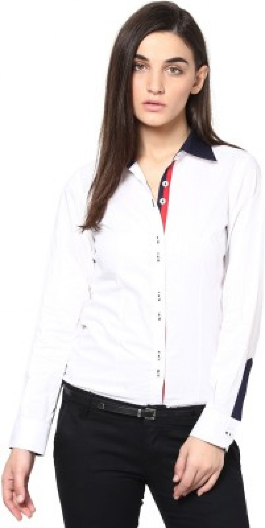 Buy Dazzio Womens Solid Formal White  Blue Shirt Online