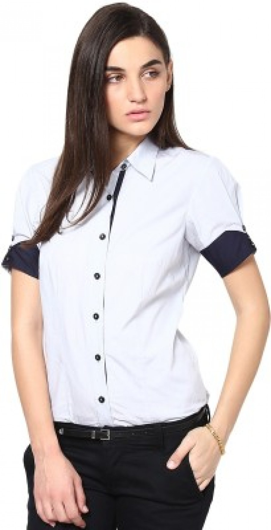 Buy Dazzio Womens Solid Formal Light Blue  Blue Shirt Online
