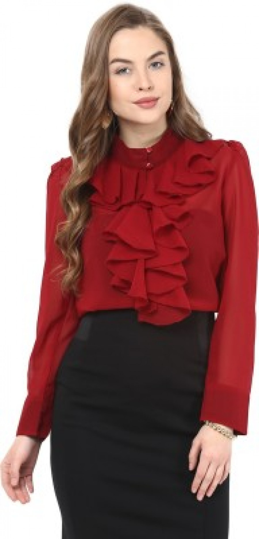 Buy La Zoire Womens Solid Formal Maroon Shirt Online