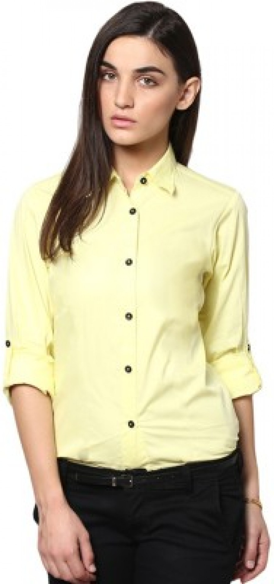 Buy Protext Womens Solid Casual Formal Yellow Shirt Online