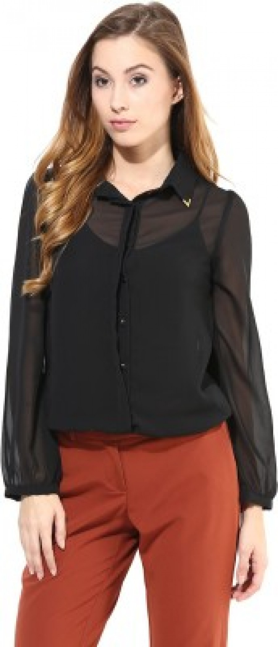 Buy La Zoire Womens Solid Formal Party Black Shirt Online
