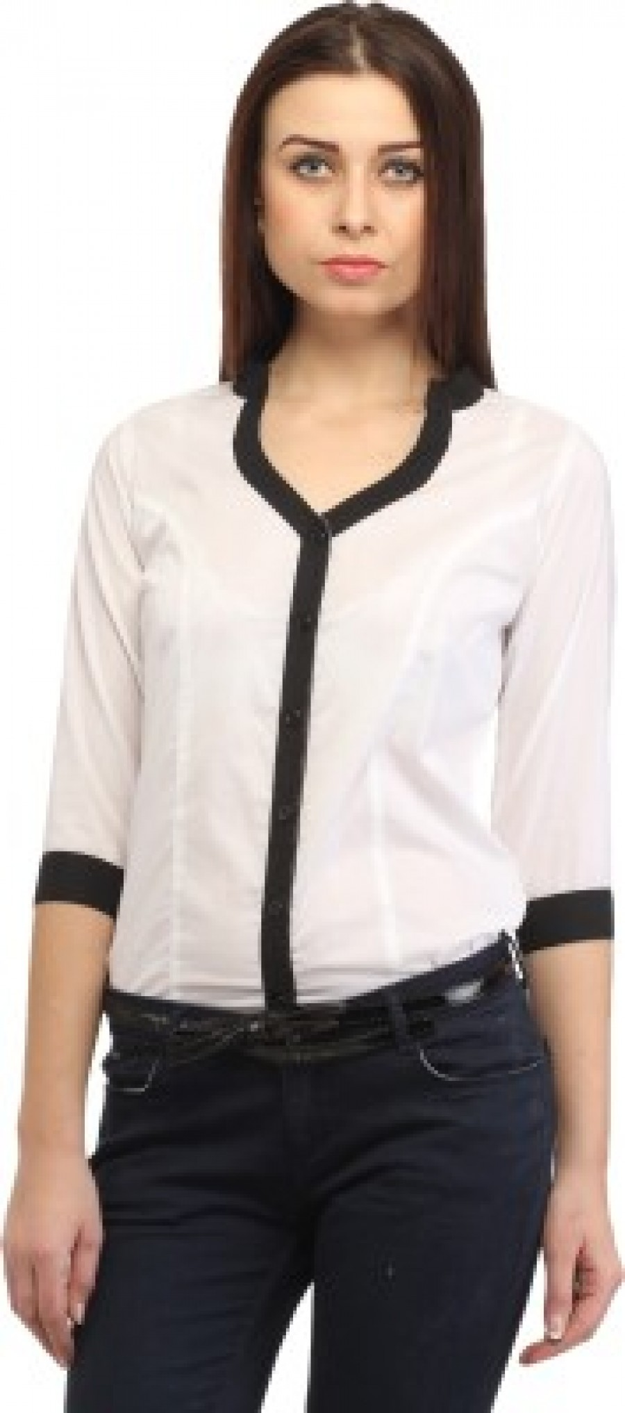 Buy Cation Womens Solid Casual White Black Shirt Online