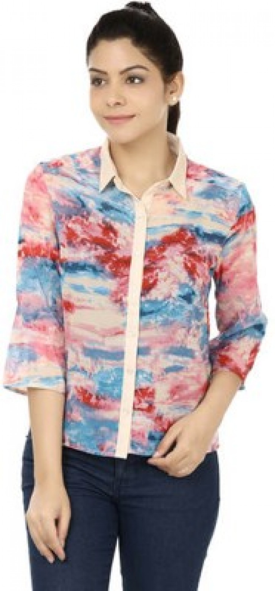 Buy M&F Womens Printed Casual Multicolor Shirt Online