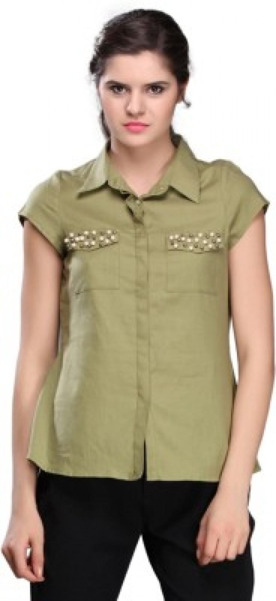 Buy Nineteen Womens Solid Casual Green Shirt Online