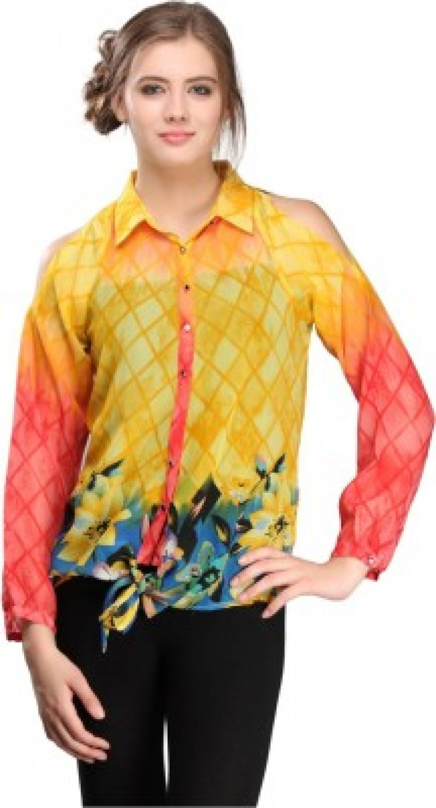 Buy Nineteen Womens Printed Casual Yellow Shirt Online