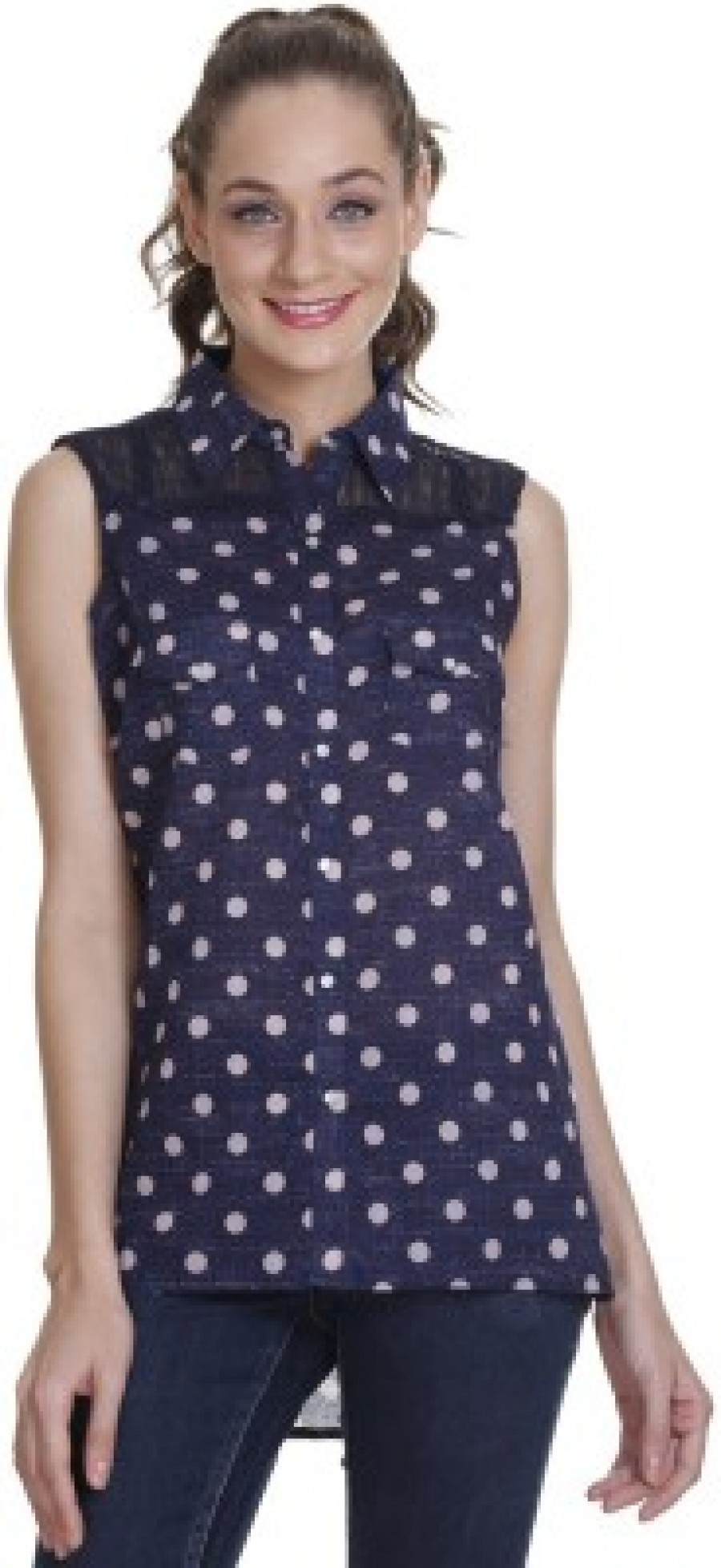 Buy Meiro Womens Printed Casual Blue Shirt Online
