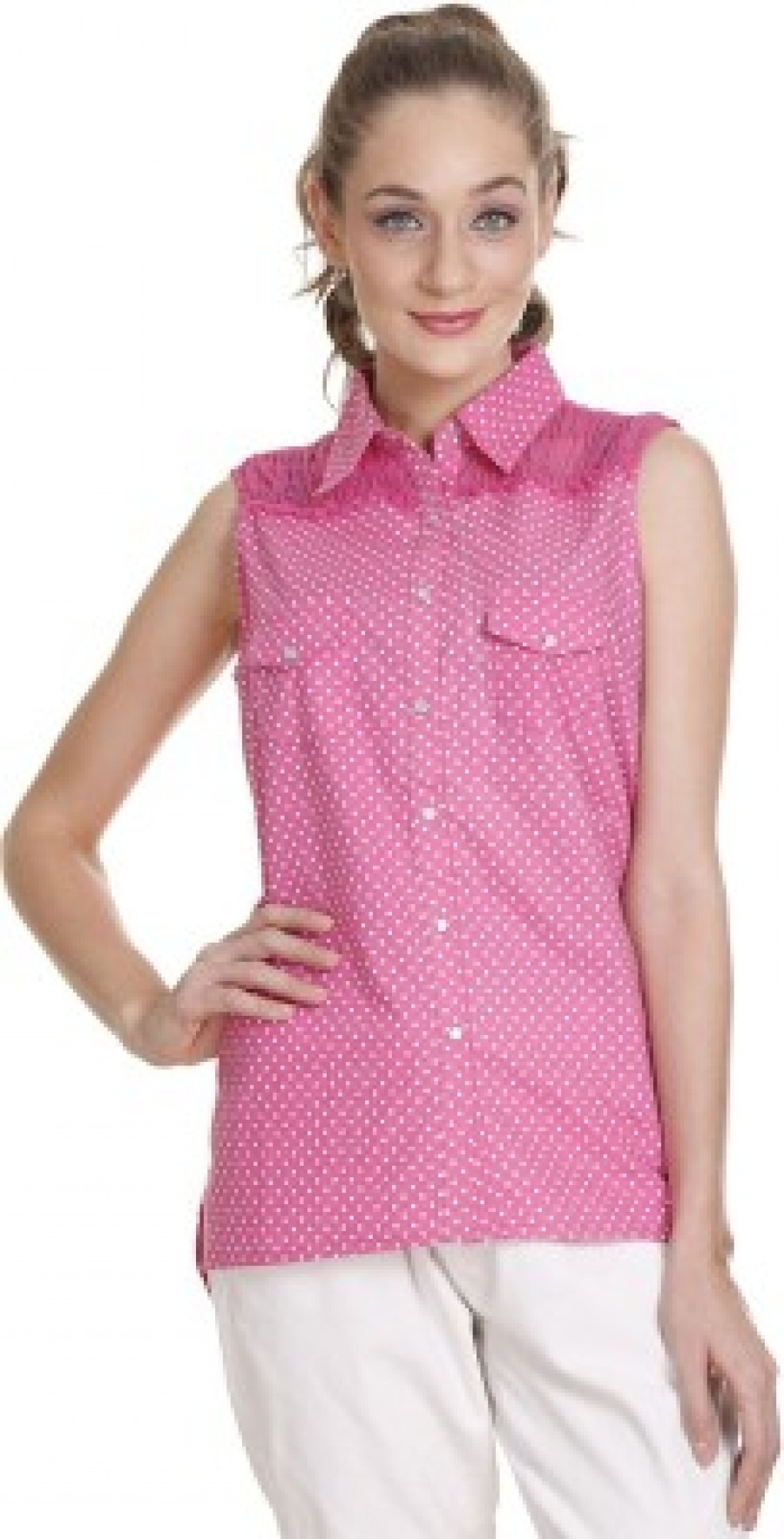 Buy Meiro Womens Printed Casual Pink Shirt Online