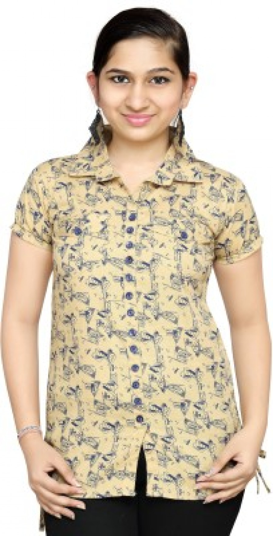 Buy Leafit Womens Graphic Print Casual Yellow Blue Shirt Online