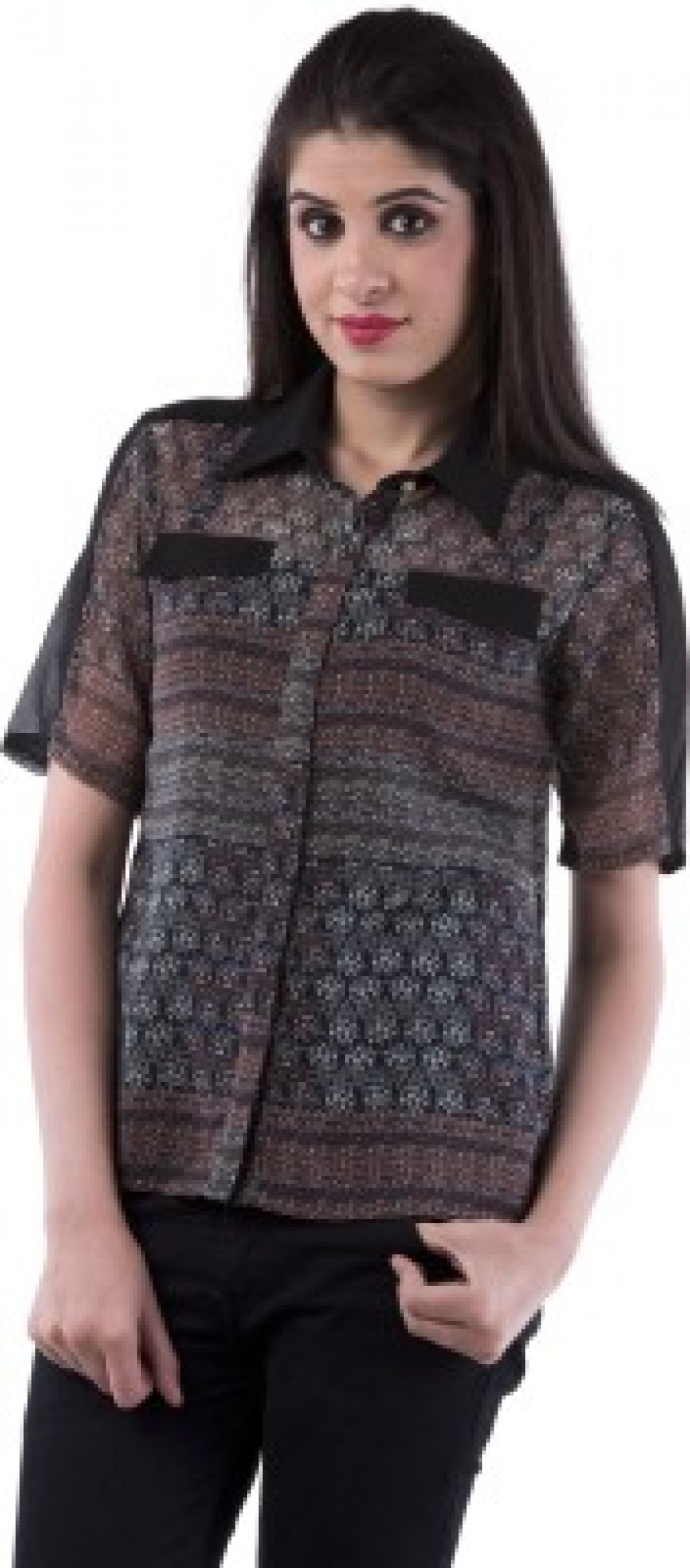 Buy Aarr Womens Polka Print Casual Black Shirt Online