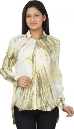 Buy CraftZen Womens Printed Casual White Brown Shirt Online