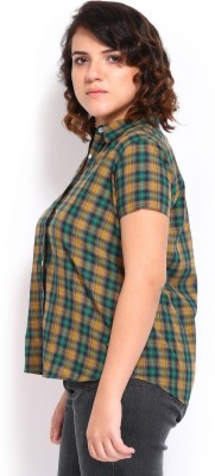 Buy Roadster Womens Checkered Casual Green Shirt Online