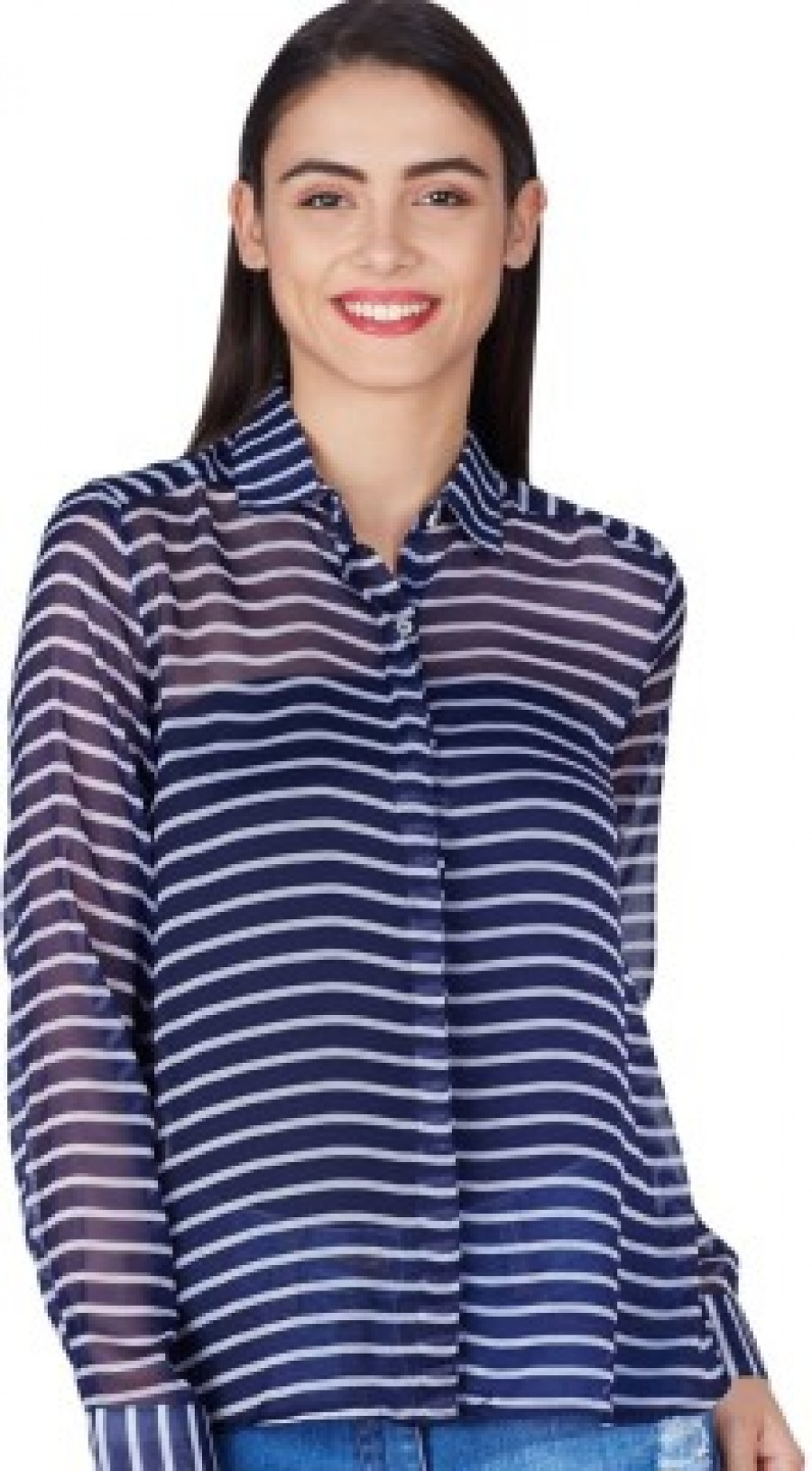 Buy American Swan Womens Striped Casual Blue Shirt Online