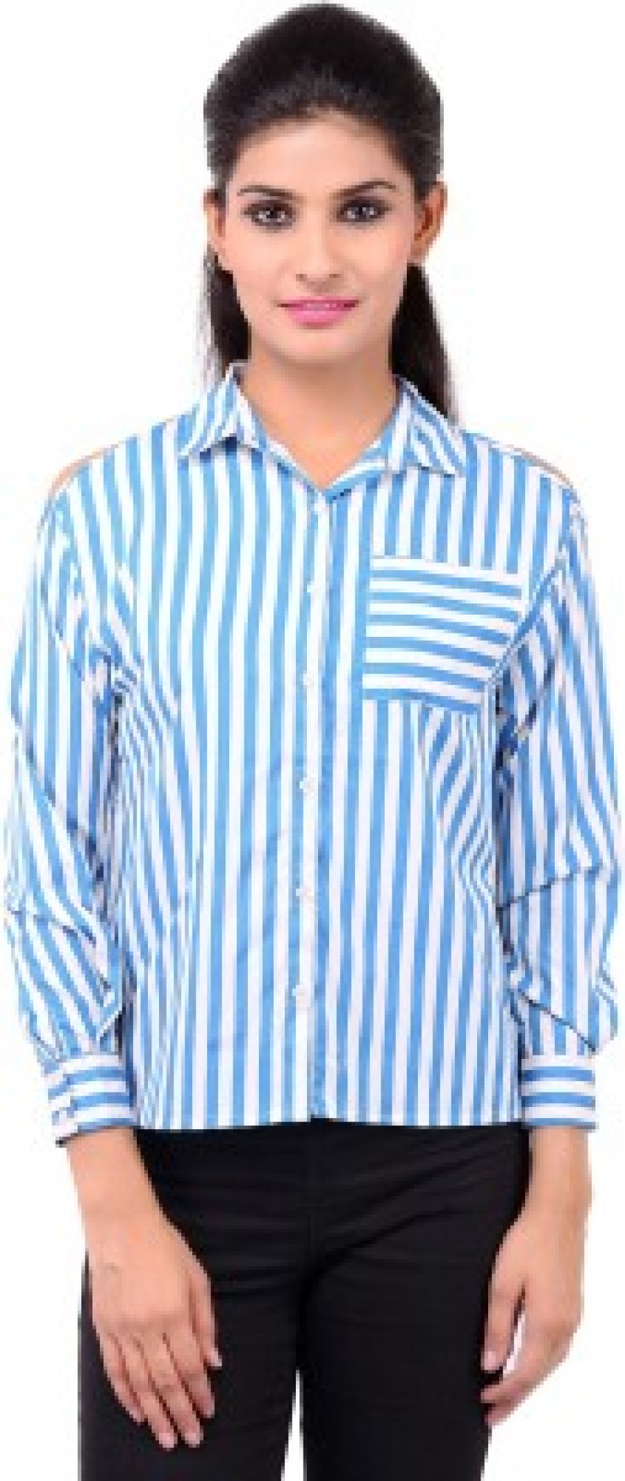 Buy Zachi Womens Striped Casual Blue Shirt Online