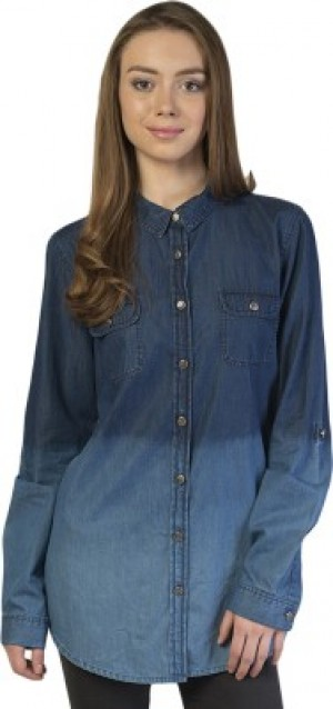 Buy Bonhomie Womens Self Design Casual Blue Shirt Online
