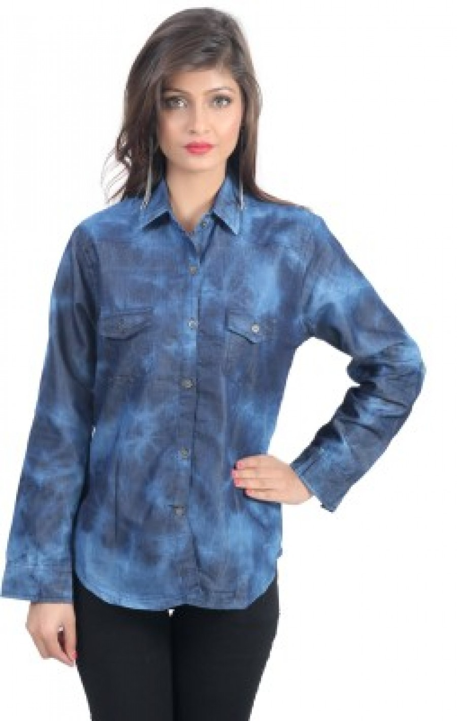 Buy shopdayz Womens Solid Casual Blue Shirt Online