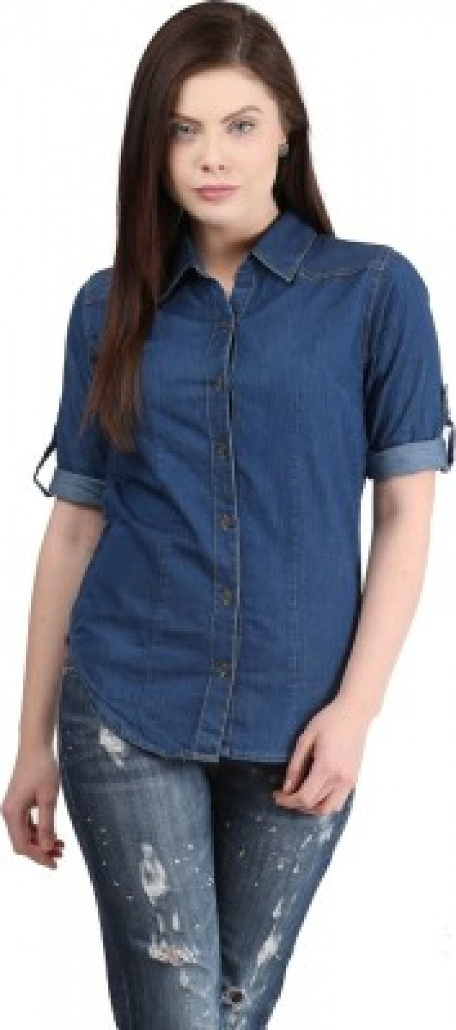 Buy Mayra Womens Solid Casual Party Denim Blue Shirt Online