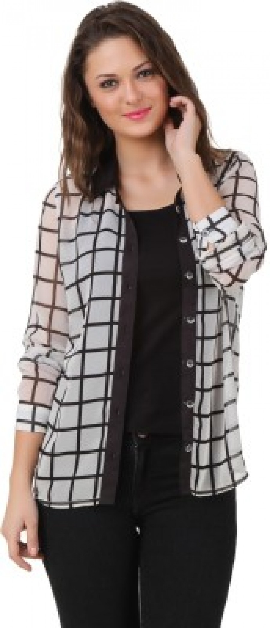 Buy Texco Womens Checkered Casual Black White Shirt Online