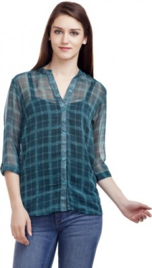 Buy MASK LIFESTYLE Womens Girls Checkered Casual Green Shirt Online