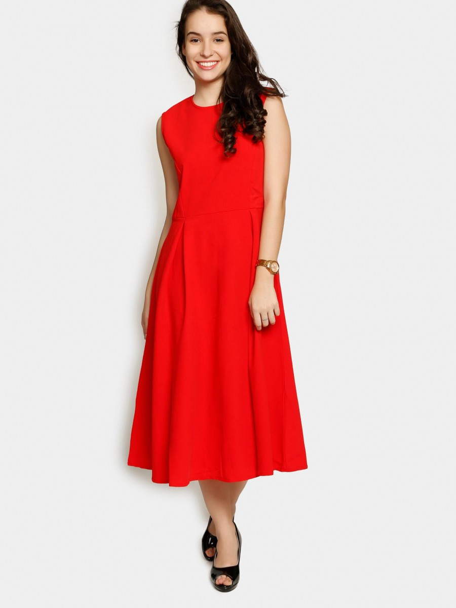 Buy Femella Women Red Fit & Flare Dress Online